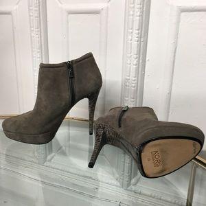Michae Kors Grey Suede Snakeskin Heel Booties
